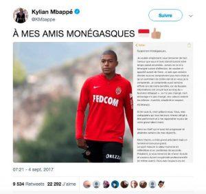 tweet Kylian Mbappé